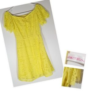 Xhalaration Yellow Lace Off Shoulder Dress, junior
